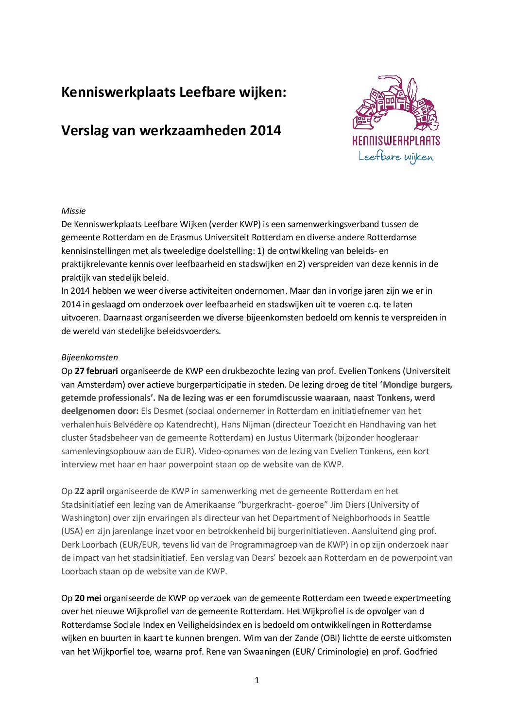 Verslag van werkzaamheden 2014