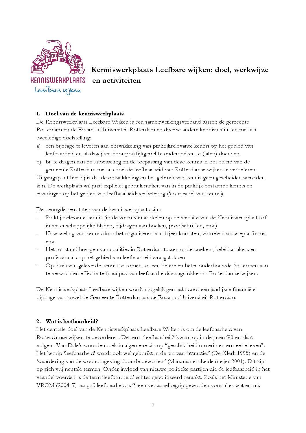 Kenniswerkplaats Leefbare Wijken: doel, werkwijze en activiteiten