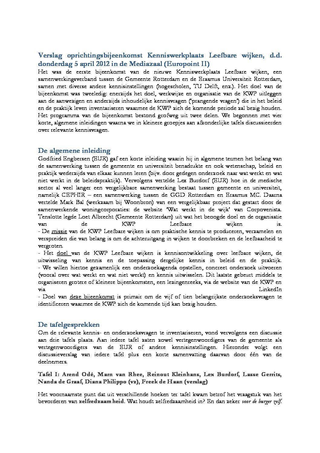 Verslag oprichtingsbijeenkomst Kenniswerkplaats Leefbare wijken