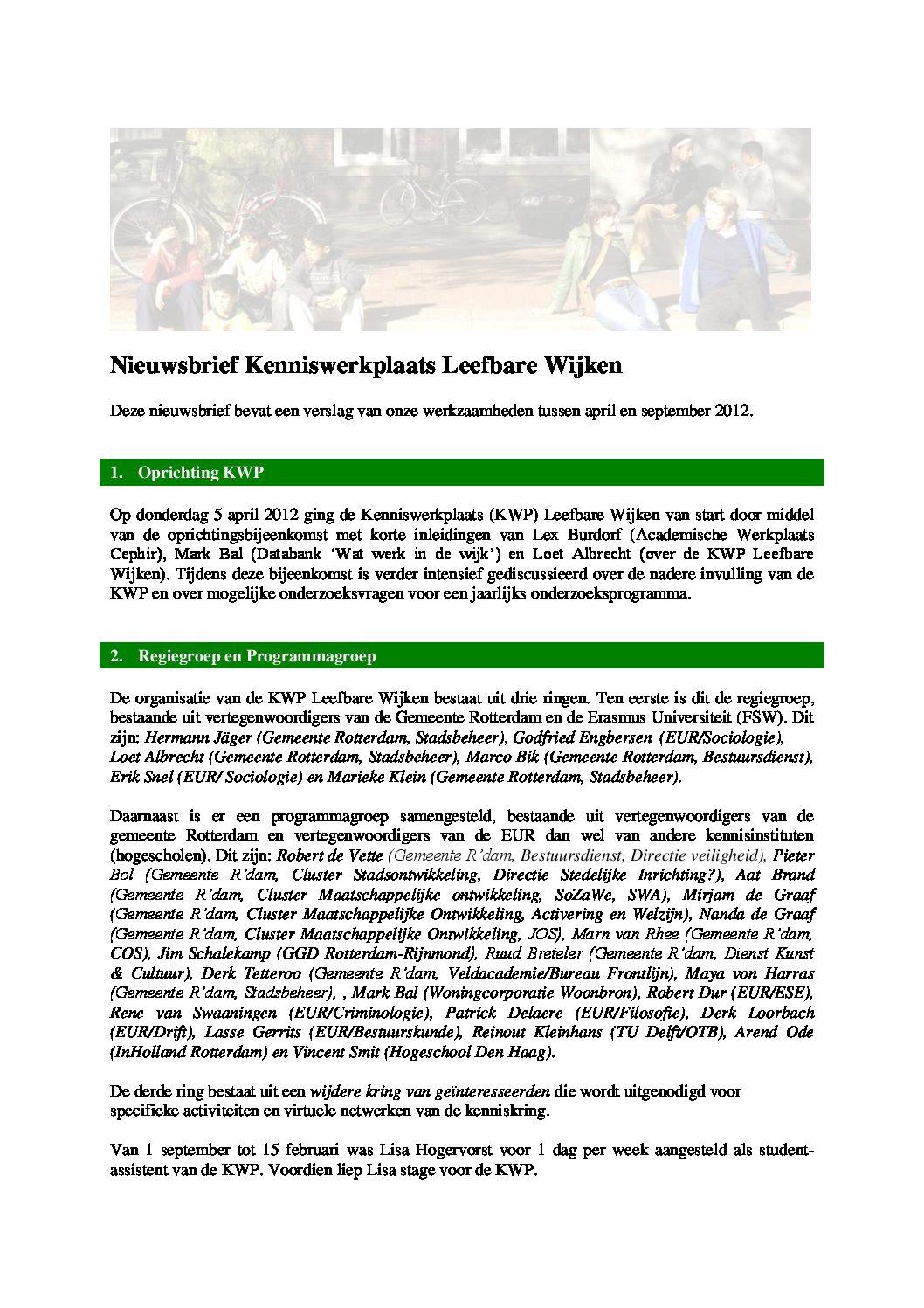 Een verslag van de werkzaamheden van de KWP over 2012